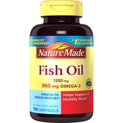 Nature Made Omega-3 Fish Oil 1200 Mg Maximum Strength Softgels 100 ct.