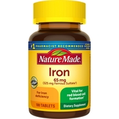 Nature Made Iron 65 mg Dietary Supplement Tablets 180 Ct.