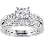 Diamore 14K White Gold 1 CTW Multi Shape Diamond Bridal Set