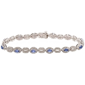 Sterling Silver Tanzanite and Diamond Accent Bracelet