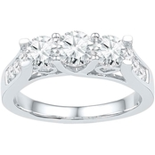 14K White Gold 1 1/2 CTW 3 Stone Round Diamond Engagement Ring