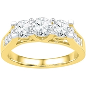 14K Yellow Gold 1 1/2 CTW 3 Stone Round Diamond Engagement Ring