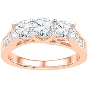 14K 1 1/2 CTW 3 Stone Round Diamond Engagement Ring, Pink Gold