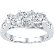 14K 1 1/2 CTW 3 Stone Princess Cut Diamond Engagement Ring, White Gold
