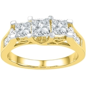 14K 1 1/2 CTW 3 Stone Princess Cut Diamond Engagement Ring, Yellow Gold