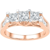 14K 1 1/2 CTW 3 Stone Princess Cut Diamond Engagement Ring, Pink Gold