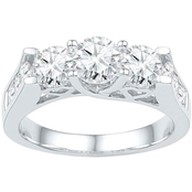 14K White Gold 2 CTW 3 Stone Round Diamond Engagement Ring