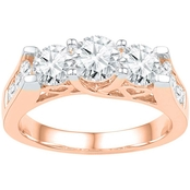 14K Pink Gold 2 CTW 3 Stone Round Diamond Engagement Ring