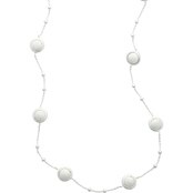Sterling Silver 24 in. Laser Bead Station Necklace