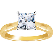 14K Yellow Gold 1 CTW Princess Cut Diamond Solitaire Engagement Ring