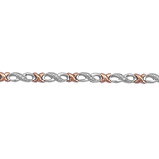 Sterling Silver and 14K Rose Goldtone 1/10 CTW Diamond X Infinity Bracelet
