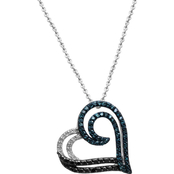 Sterling Silver 1/5 CTW Double Heart Diamond Pendant