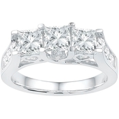 14K 2 CTW 3 Stone Princess Cut Diamond Engagement Ring, White Gold