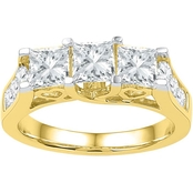 14K Yellow Gold 2 CTW 3 Stone Princess Cut Diamond Engagement Ring
