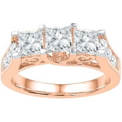 14K Pink Gold 2 CTW 3 Stone Princess Cut Diamond Engagement Ring
