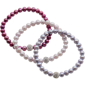 Cultured Freshwater Pearl Multi Purple and Crystal 3 Bracelet Set