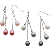 Sterling Silver Cultured Freshwater Pearl Multi Pink and Black and Gray Dangle Earrings 2 Pairs
