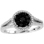 Sterling Silver 1/2 ct. TDW Black and White Diamond Fashion Ring