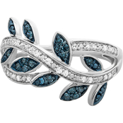 Sterling Silver 1/4 CTW Enhanced Blue and White Diamond Leaf Ring