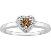 10K White Gold 1/7 CTW Champagne and White Diamond Heart Ring