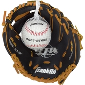 Franklin Sports 9.5 in. Black/Tan PVC Right Handed Thrower Baseball Glove with Ball
