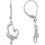 Loving Arms Sterling Silver Diamond Accent Iconic Heart Earrings