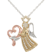 Loving Arms Gold Over Sterling Silver 1/6 CTW Angel Diamond Pendant