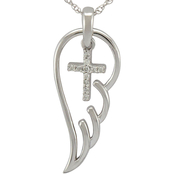Loving Arms Sterling Silver Diamond Accented Wing with Cross Pendant