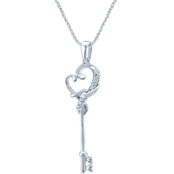 Loving Arms Sterling Silver Key Pendant with Diamond Accents