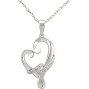 Loving Arms Sterling Silver Heart Pendant with Diamond Accents