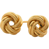 10K Yellow Gold Textured and Polished Love Knot Earrings