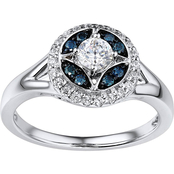 14K White Gold 1/2 CTW Blue and White Diamond Ring