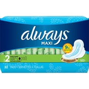 Always Maxi Size 2 Long Unscented Super Pads with Wings 32 ct.