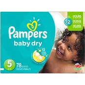 Pampers Baby Dry Super Pack Diapers Size 5 (27+ lb.) 78 Count