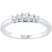 10K White Gold 1/5 CTW 5-Diamond Promise Ring