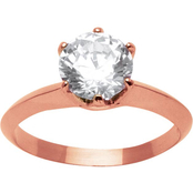 PalmBeach Rose Goldtone Cubic Zirconia Solitaire Ring