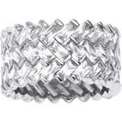 PalmBeach Platinum Over Sterling Silver Cubic Zirconia Chevron Baguette Ring