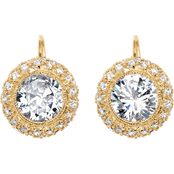 PalmBeach 18K Gold Plated Round Cubic Zirconia Earrings