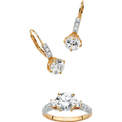 PalmBeach 18K Gold Over Sterling Silver Cubic Zirconia Earrings + FREE Ring