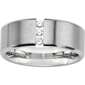 PalmBeach Brushed Steel Cubic Zirconia Wedding Band