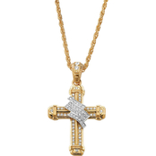 PalmBeach Goldtone Crystal Wrapped Cross Pendant