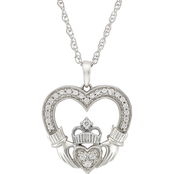 Sterling Silver 1/10 CTW Diamond Claddaugh Heart Pendant
