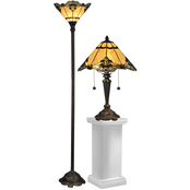 Dale Tiffany Brena Tiffany Table and Torchiere Lamp Set