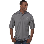 Duke Performance Polo with Embroidered Air Force Insignia Gray