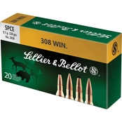 Sellier & Bellot .308 Win 150 Gr. Soft Point Cutting Edge, 20 Rounds