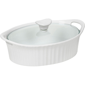 Corningware French White III 1.5 Qt. Oval Casserole with Glass Cover