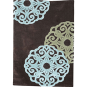 Linon Trio Collection Chocolate & Ice Blue Rug