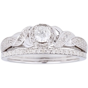 10K White Gold 3/5 CTW Diamond Bridal Set