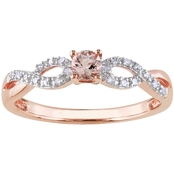 Sofia B. Rose Gold over Sterling Silver Morganite and 1/10 CTW Diamond Ring
