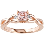 Sofia B. Rose Gold over Sterling Silver Morganite Ring with Diamond Accents